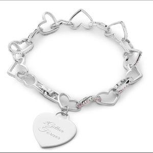 Jewelry - NWT Pink  Pave Heart Bracelet